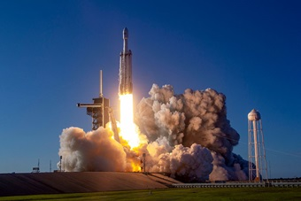 SpaceX Falcon Heavy Arabsat 6A launching from Launch Complex 39A in March 2019