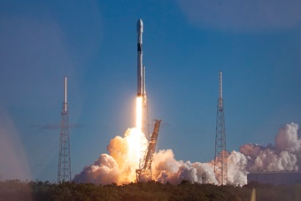 SpaceX Falcon 9 GPS III-2 launching from Launch Pad 40 on Cape Canaveral Air Force Station.