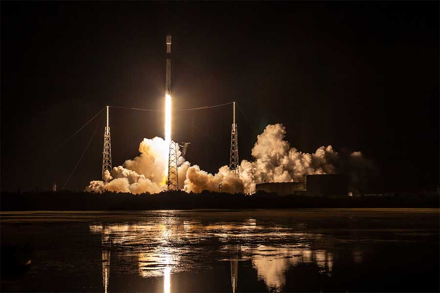 A SpaceX Falcon 9 rocket launches 60 Starlink satellites from SLC-40 on Cape Canaveral Air Force Station.