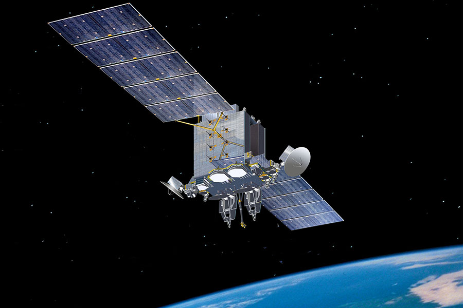 An artist rendering of a U.S. Air Force Advanced Extremely High Frequency (AEHF) satellite in space.