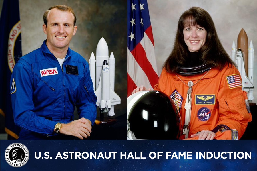 Space shuttle astronauts James F. Buchli and Janet Kavandi are to be inducted into the U.S. Astronaut Hall of Fame.