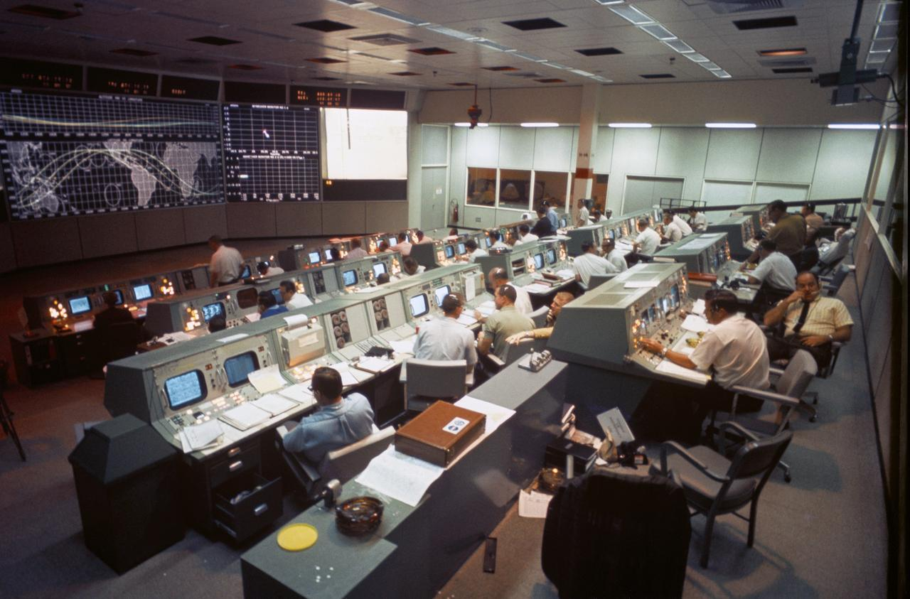 Mission Control on first day of Apollo 7 space mission