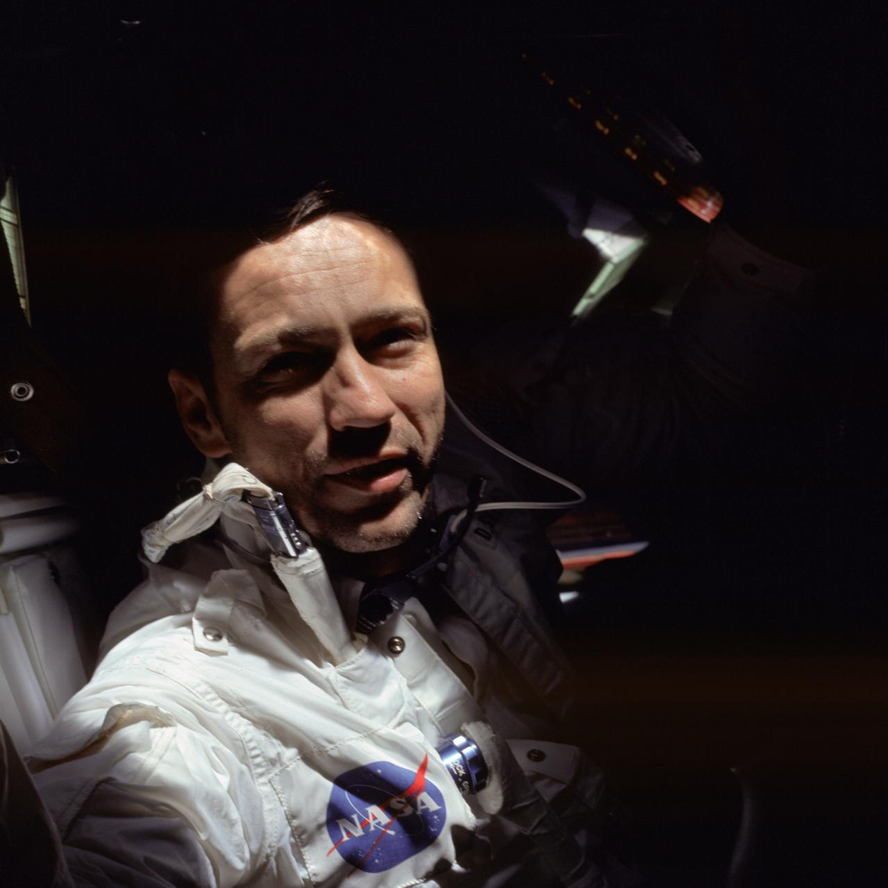 Astronaut Donn F. Eisele, Apollo 7 command pilot, is photographed during the Apollo 7 mission.