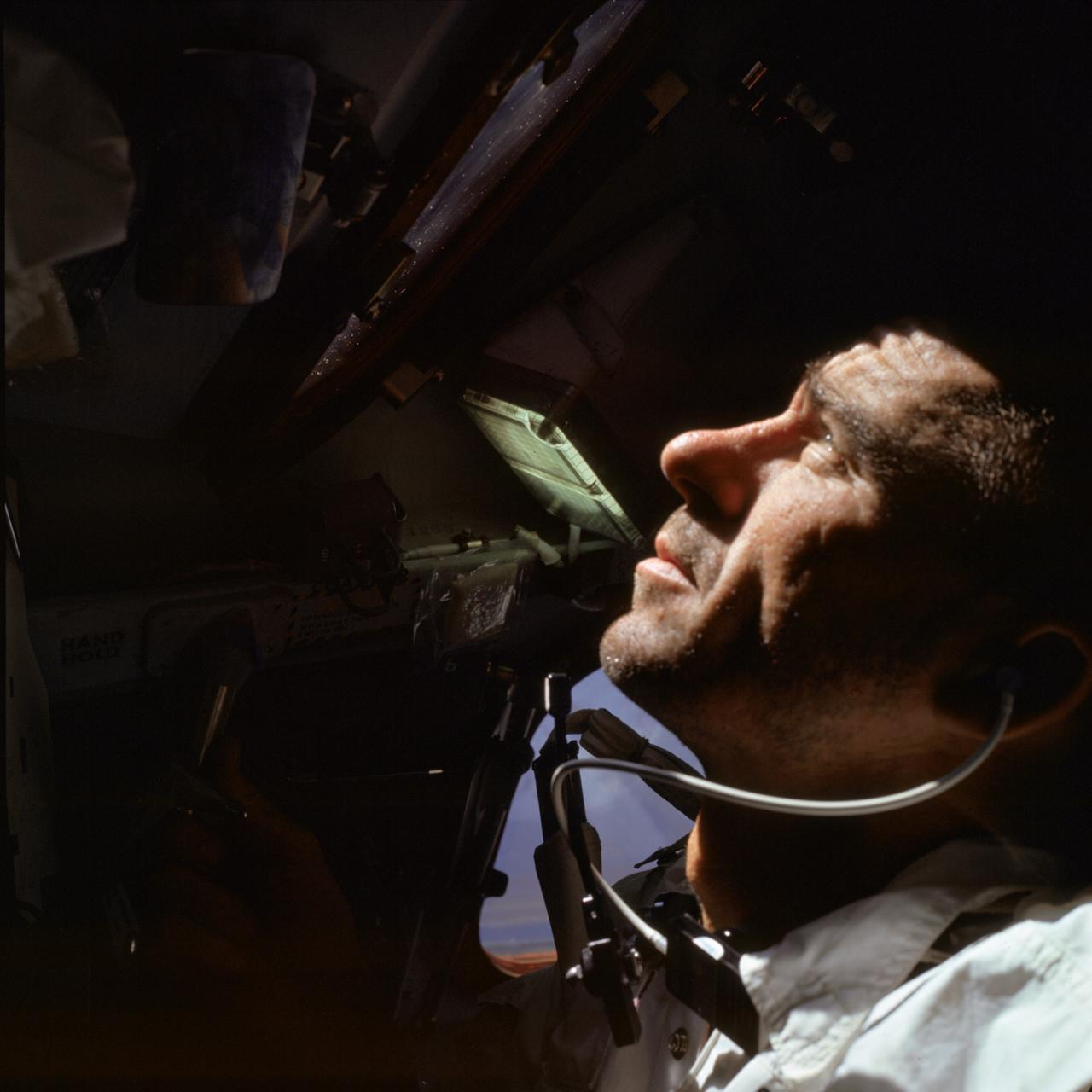 Apollo 7 lunar module pilot Water Cunningham during the mission.