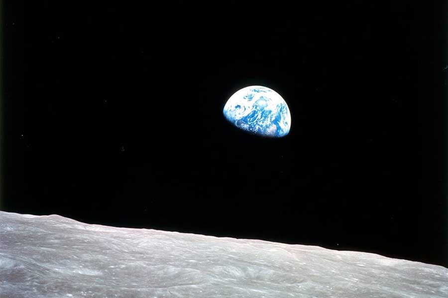 The famous Earthrise photo was taken during the Apollo 8 mission, the first manned mission to the moon.