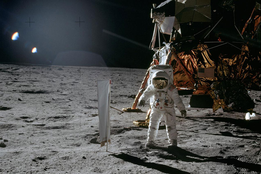 Astronaut Edwin E. Aldrin Jr., lunar module pilot, is photographed during the Apollo 11 extravehicular activity (EVA) on the lunar surface: join the celebration 50 years later.