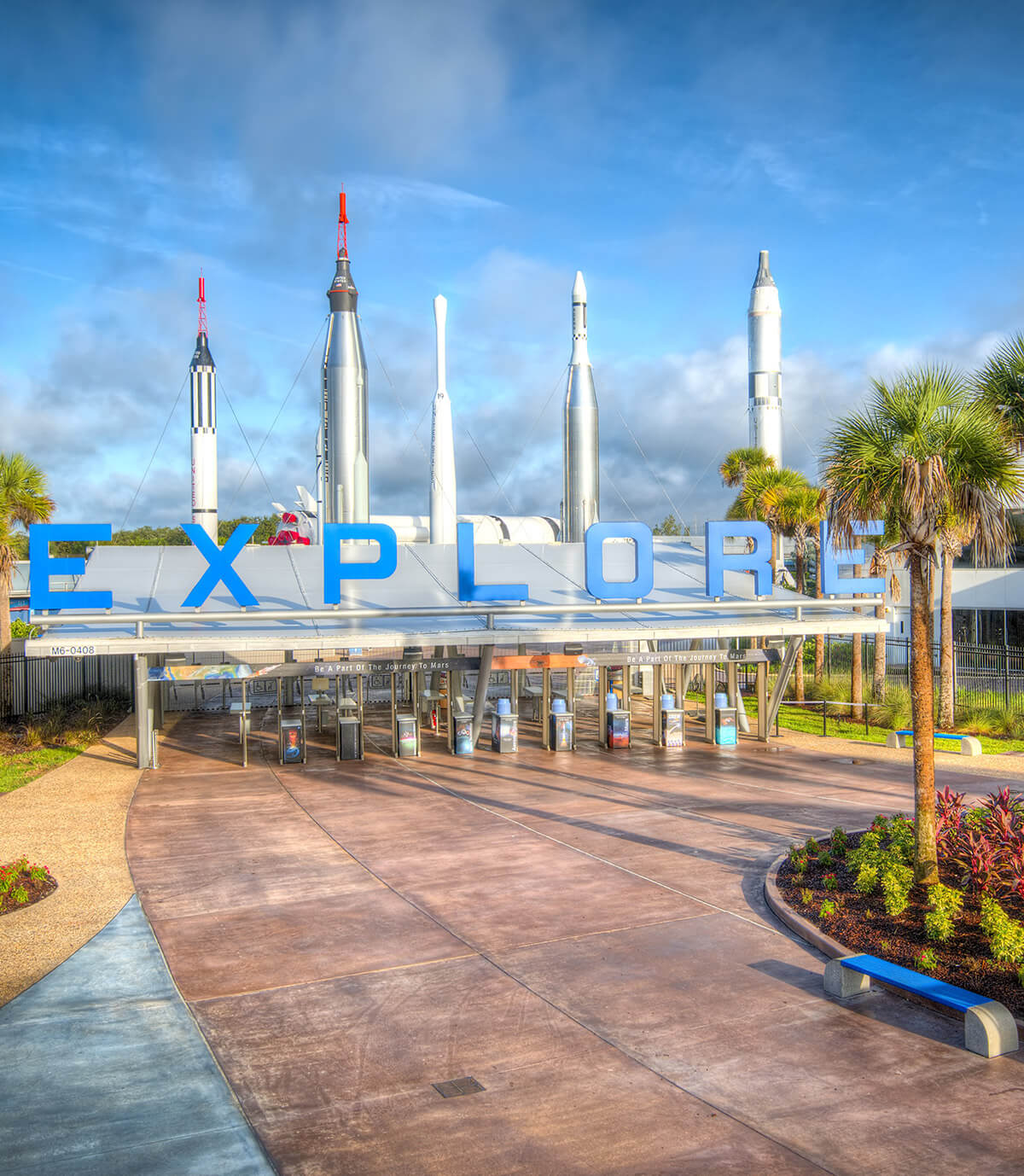 Kennedy Space Center Visitor Complex Entrance –Explore Sign