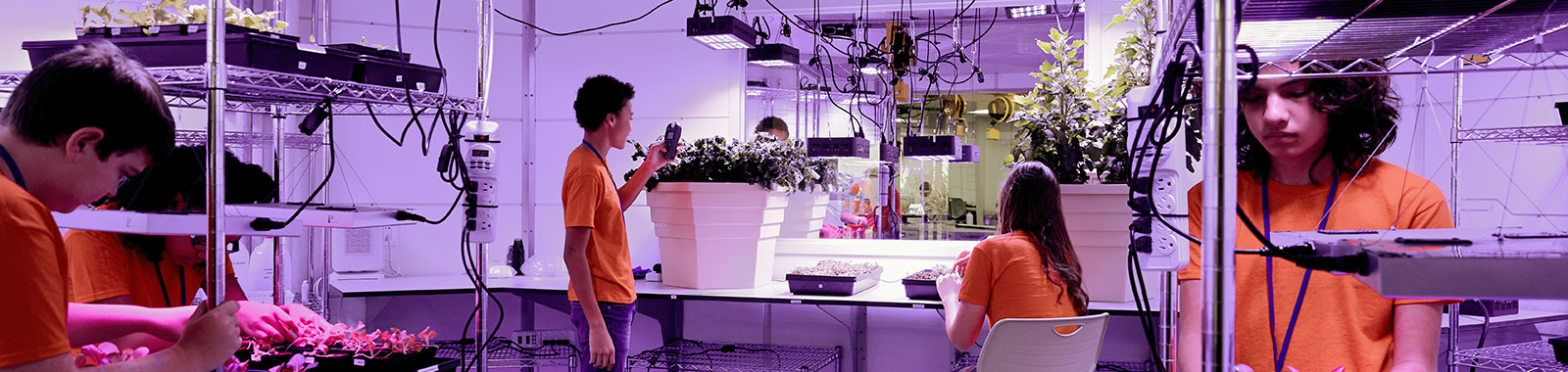 Campers exploring the Plant Lab in Mars Base 1