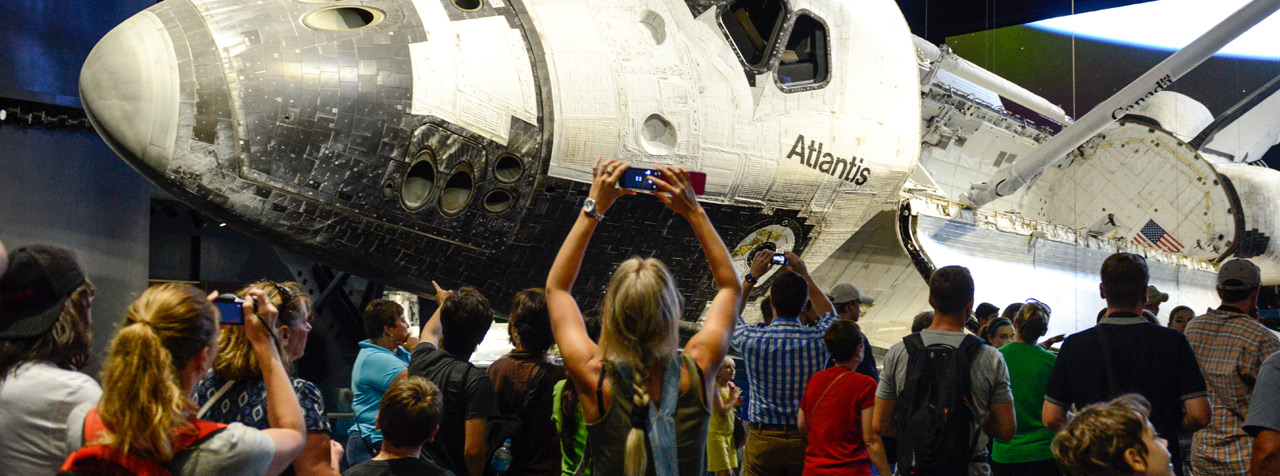 Crowd at Space Shuttle Atlantis exhibit
