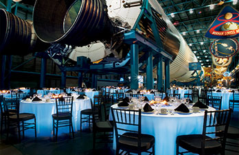 Host an event to remember at the Apollo / Saturn V Center, with event spaces for dinner, galas, meetings and more, all underneath a moon rocket.