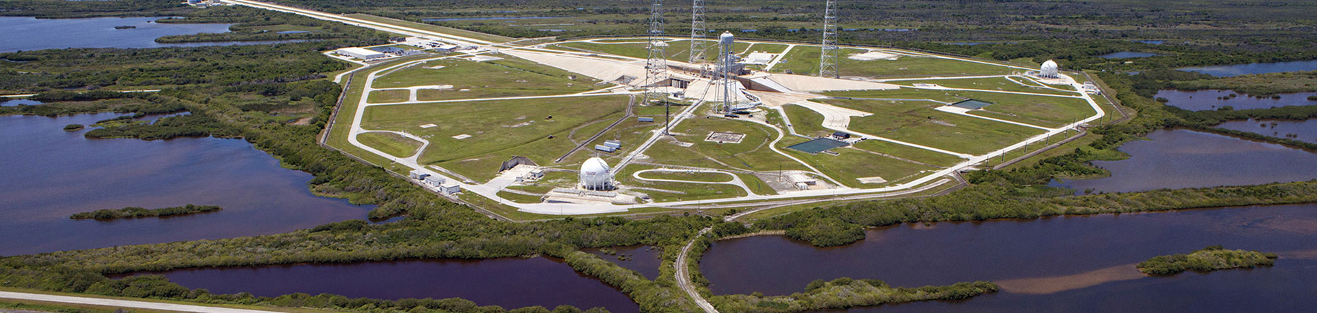 Aerial of launch complex at Kennedy Space Center