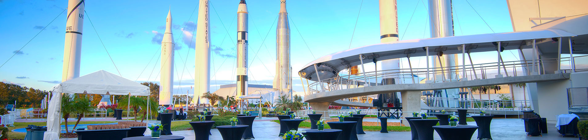 Enjoy an unique event experience at the Debus Conference Facility, with a stunning view of the Rocket Garden.