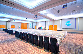 Host an event in the spacious Debus Conference Facility, with a breath taking view of the Rocket Garden.