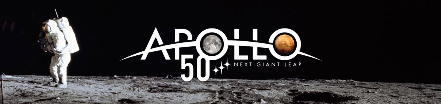 Apollo 12 moon landing mission, with astronaut Al Bean walking on the moon and the Apollo 50th logo.