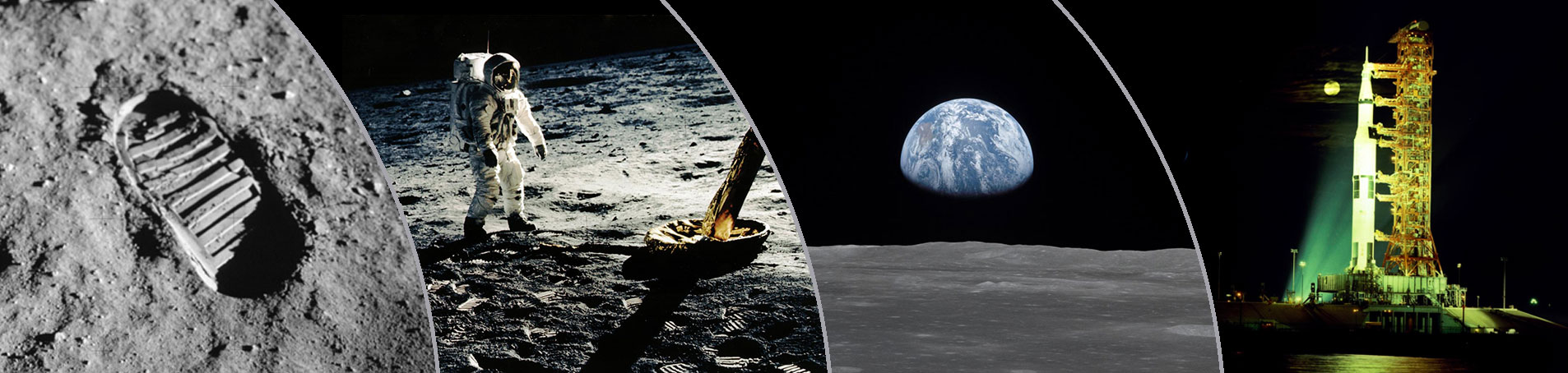 Astronaut boot print on the lunar surface from Apollo 11; Astronaut Edwin walking on the moon from Apollo 11; Earthrise photo taken during Apollo 7; Saturn V rocket on launch pad for Apollo 17 mission.