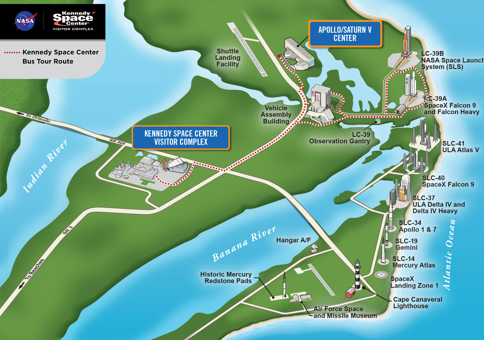 Map of bus tour route at Kennedy Space Center