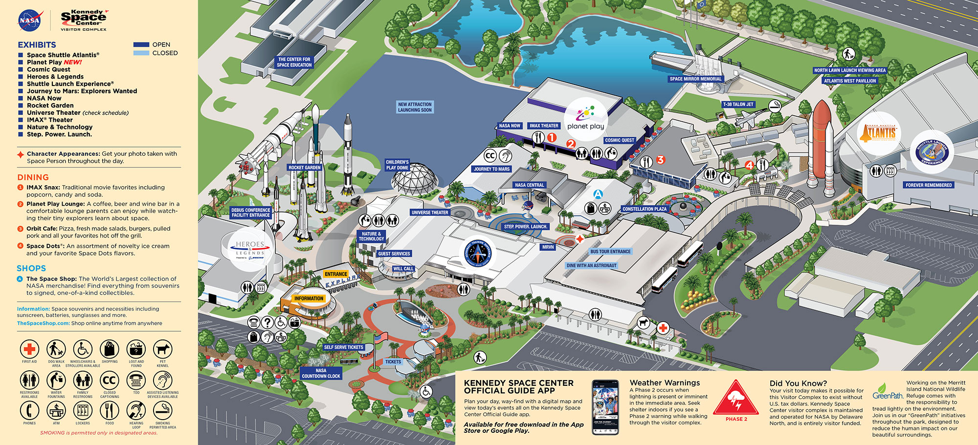 Kennedy Space Center Visitor Complex map - May 2020
