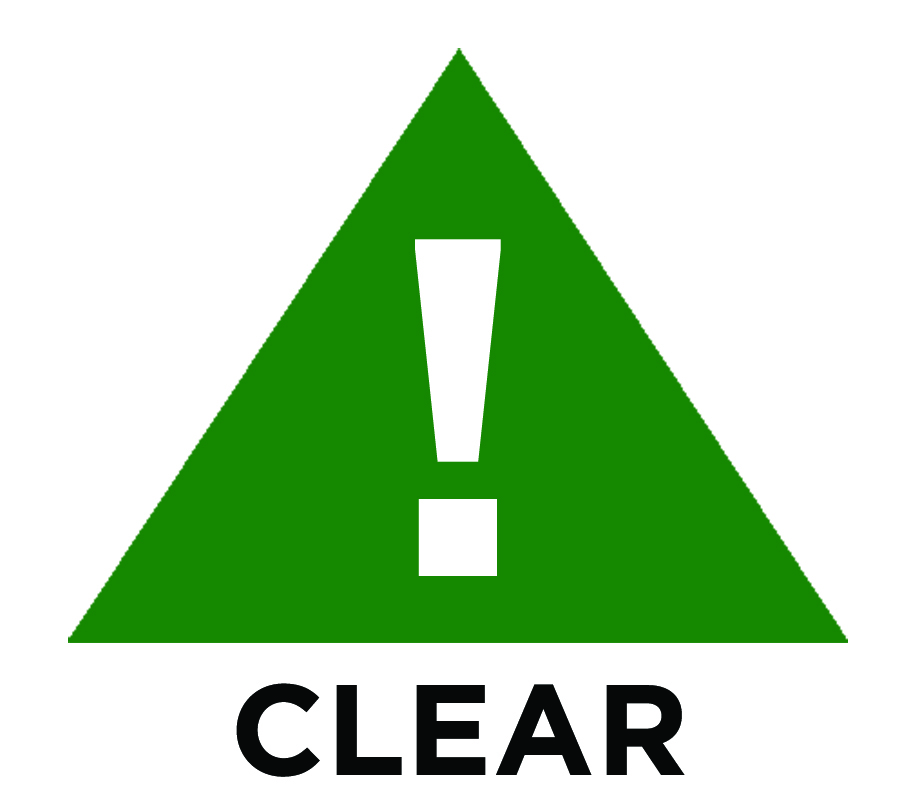 A green triangle with a white exclamation mark in the center is the symbol of clear weather.