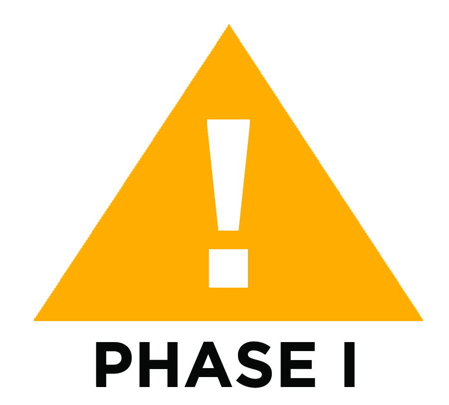 A yellow triangle with a white exclamation mark in the center is the symbol of Phase I weather, a warning of lightning in the area.