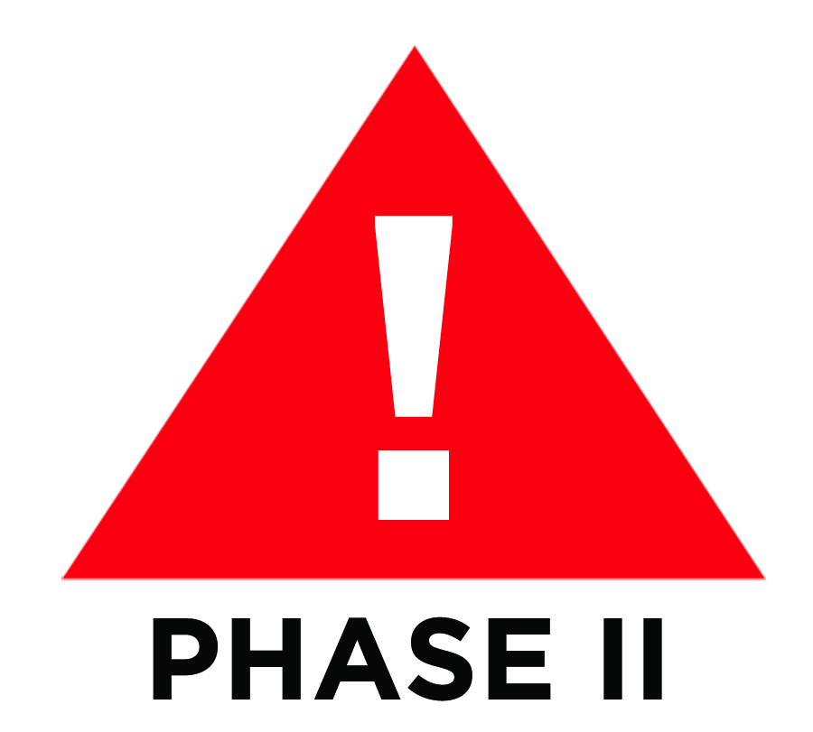 A red triangle with a white exclamation mark in the center is the symbol of Phase II weather, where lightning is in the local area.