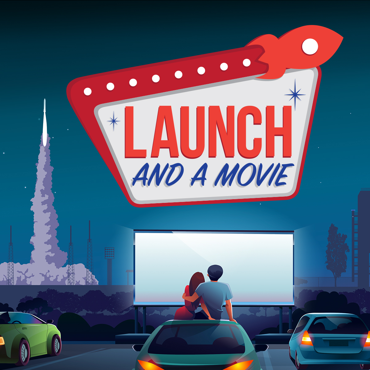The Launch And A Movie experience allows guests to witness liftoff and a movie from the comfort of their cars.