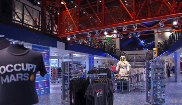 Interior of the new Space Shop