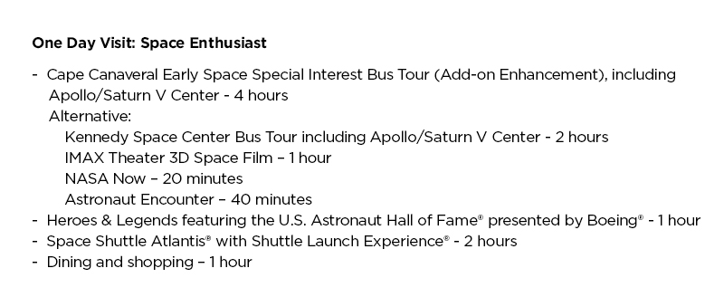 KSC Attractions List